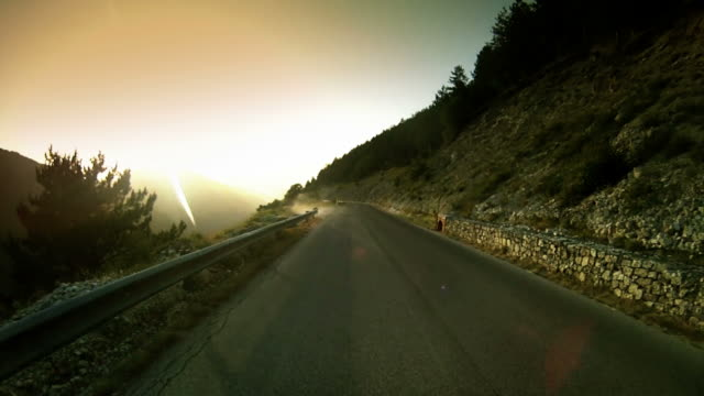 Speedy  Car Onboard Camera on Mountain Road