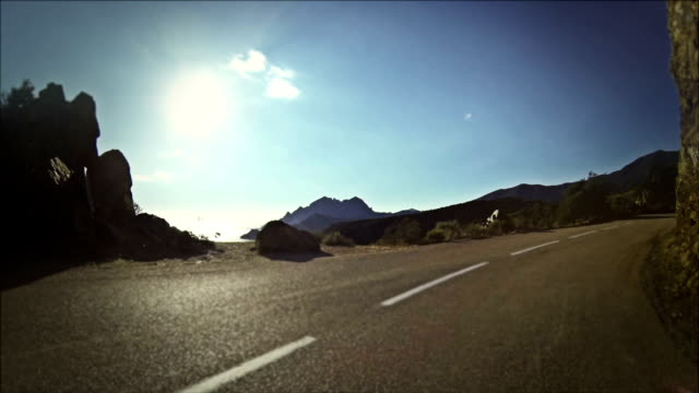 Speedy Rally Car Onboard Camera on Road in Corsica