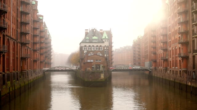 speicherstadt in hamburg - old town stock videos & royalty-free footage