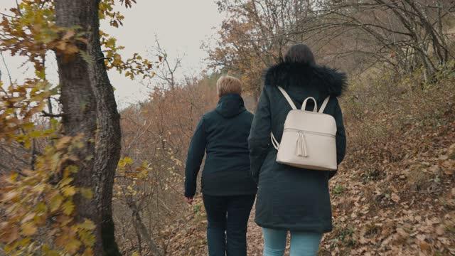 att umgås med moder i naturen - gå tillsammans bildbanksvideor och videomaterial från bakom kulisserna