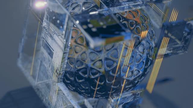 vidéos et rushes de sphère tournant à l'intérieur d'un cube carré en verre avec des panneaux informatiques de technologie de pointe - pixellisation