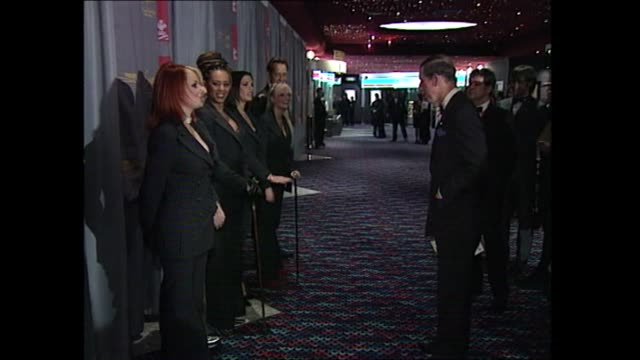 spice girls joke with prince charles at the premiere of spice world about their canes and stealing items from buckingham palace, 1997 - 1997 stock videos & royalty-free footage