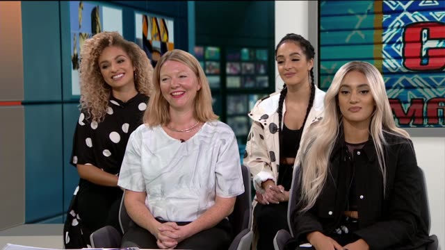 spice girls 'wannabe' song used in new campaign for gender equality; england: london: gir: int m.o and kate garvey live studio interview sot - spice girls stock-videos und b-roll-filmmaterial