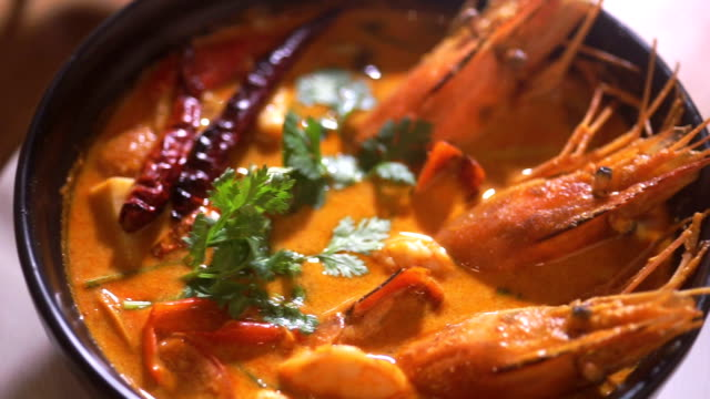 Spicy seafood soup, Tom yum goong spicy soup of Thai cuisine.