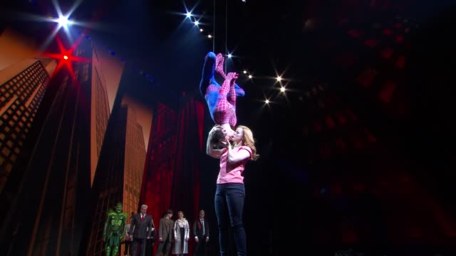 performance spiderman and maryjane at bono and the edge celebrate the 1000th performance of spiderman turn off the dark on broadway at foxwoods... - david 'the edge' howell evans stock videos and b-roll footage