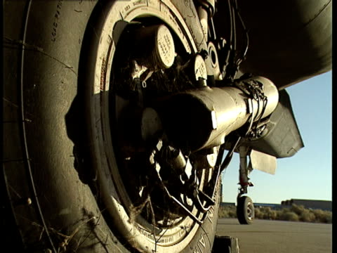 spiderwebs hang from an aircraft wheel and brake assembly. - bremskeil stock-videos und b-roll-filmmaterial