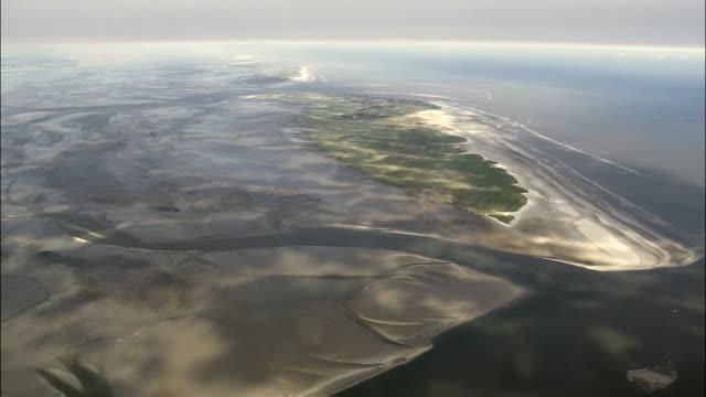 spiekeroog island  - aerial view - lower saxony,  germany - north frisian islands stock videos & royalty-free footage