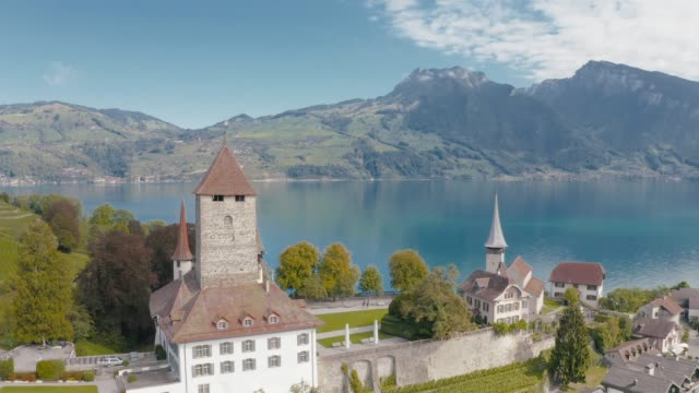 spiez city with lake thun in canton of bern, switzerland - switzerland stock videos & royalty-free footage