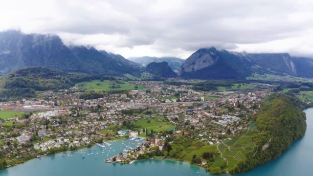 spiez city with lake thun in canton of bern, switzerland - lake thun stock videos and b-roll footage