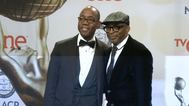 stockvideo's en b-roll-footage met spike lee and cornell william brooks at the 46th annual naacp image awards press room at pasadena civic auditorium on february 06 2015 in pasadena... - pasadena civic auditorium