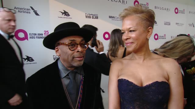 INTERVIEW Spike Lee and Tonya Lewis Lee at the Elton John AIDS Foundation Presents the 26th Annual Academy Awards Viewing Party on March 04 2018 in...