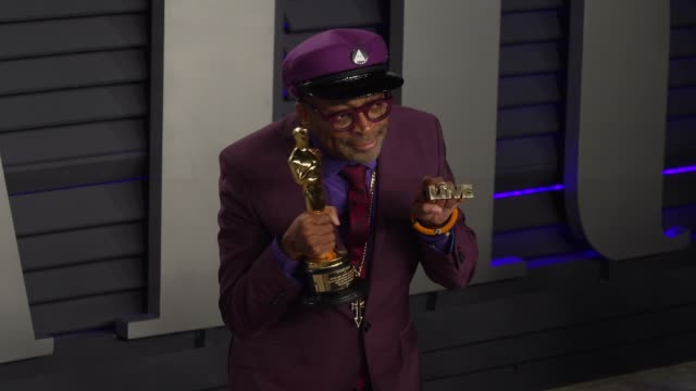 spike lee at 2019 vanity fair oscar party hosted by radhika jones at wallis annenberg center for the performing arts on february 24, 2019 in beverly... - vanity fair oscar party stock videos & royalty-free footage