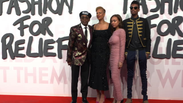 spike lee at fashion for relief fashion catwalk - the 71st cannes fillm festival at aeroport cannes mandelieu on may 13, 2018 in cannes, france. - カンヌ・マンデリュー空港点の映像素材/bロール