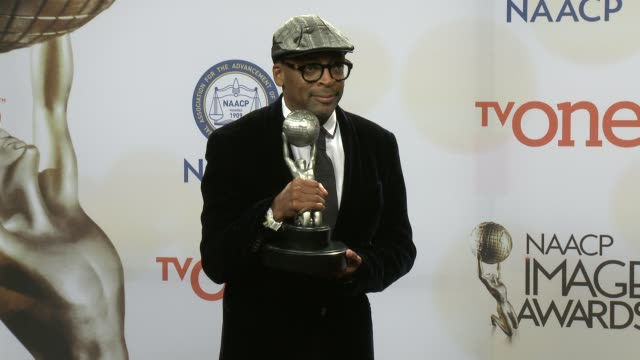stockvideo's en b-roll-footage met spike lee at the 46th annual naacp image awards press room at pasadena civic auditorium on february 06 2015 in pasadena california - pasadena civic auditorium