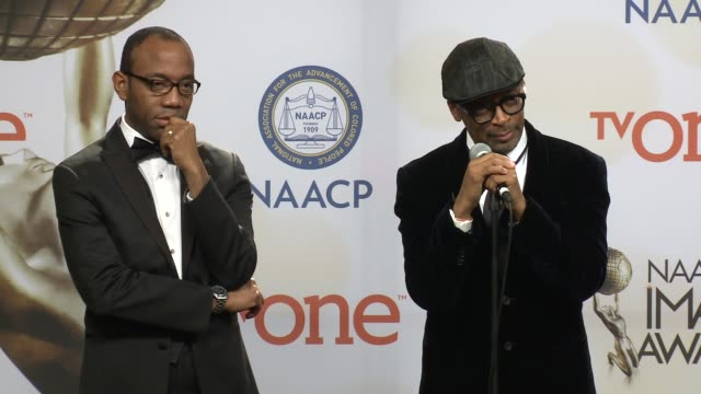 speech spike lee at the 46th annual naacp image awards press room at pasadena civic auditorium on february 06 2015 in pasadena california - pasadena civic auditorium stock videos & royalty-free footage