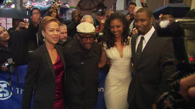 Spike Lee Tonya Lewis Lee and guests at the 'Fences' Broadway Opening Night Arrivals at New York NY