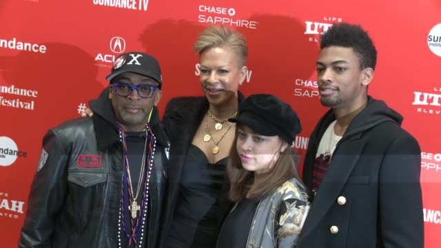 Spike Lee Tonya Lewis Lee Satchel Lee and Jackson Lee at the 'Monster' World Premiere 2018 Sundance Film Festival at Eccles Center Theatre on January...