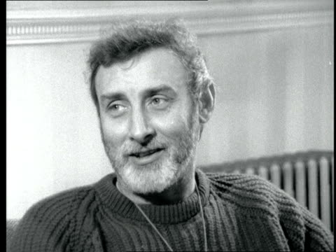 """spike milligan interview; england: london: int spike milligan interview sof - on performance before queen in """"son of oblomov"""" at the comedy theatre - spike milligan stock videos & royalty-free footage"""
