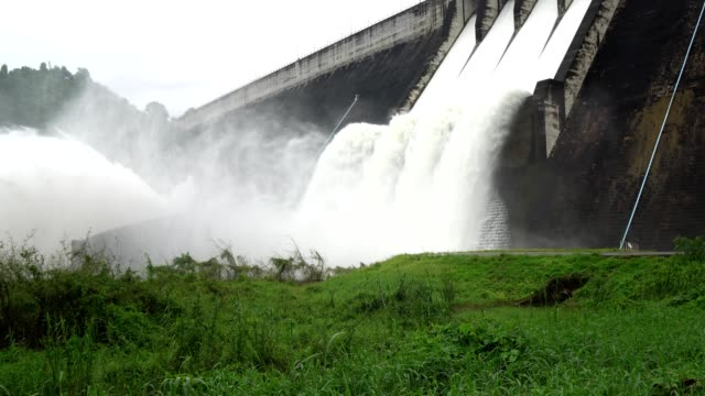 spillway of hydro electric power dam - dam stock videos and b-roll footage