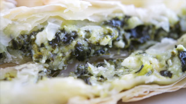 spinach and feta cheese pastry, a look of the filling or stuffing - feta stock videos & royalty-free footage