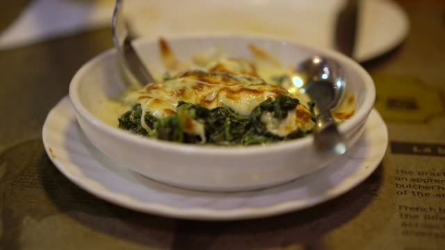 spinach with cheese - dipping stock videos & royalty-free footage