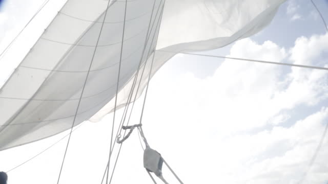 Spinnaker sail flapping loose in the wind.