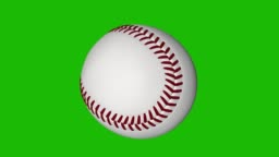 Spinning baseball loop with chroma key green background