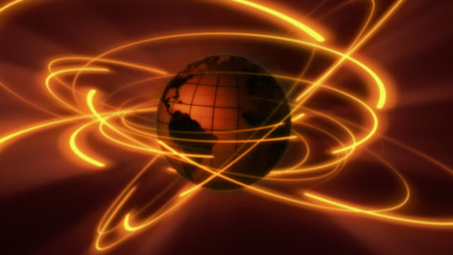 Spinning central globe with glowing communication orbit