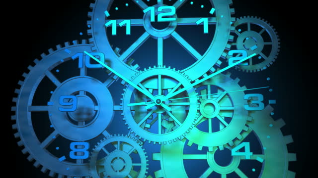 3D Spinning Clock Face with Gears