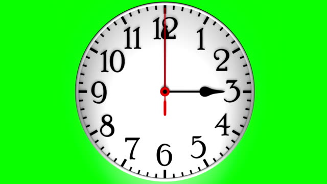 spinning clock on green background (loopable) - clock hand stock videos and b-roll footage
