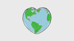 Cartoon earth globe deforms to heart shape