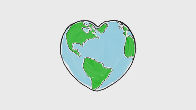 vídeos de stock e filmes b-roll de cartoon earth globe deforms to heart shape - environmental conservation