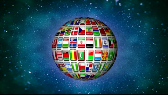 Spinning earth globe made of world flags