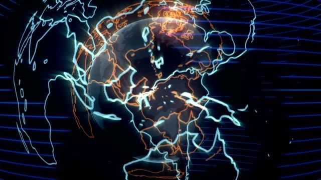 spinning earth hologram - cava video stock e b–roll