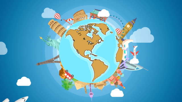 stockvideo's en b-roll-footage met spinning earth planet met beroemde bezienswaardigheden. globetrotting background stockvideo-motion graphics - travel destinations