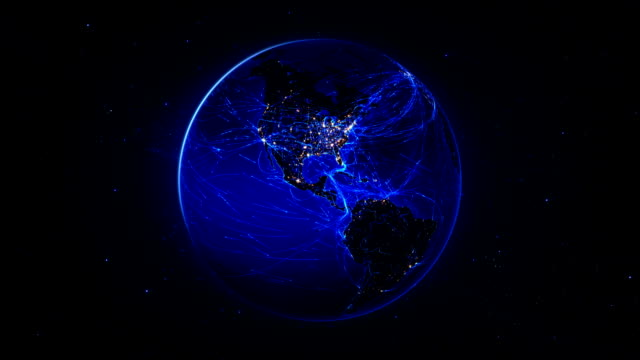 spinning earth with bright connections. loopable. 360. blue. - freight transportation stock videos & royalty-free footage