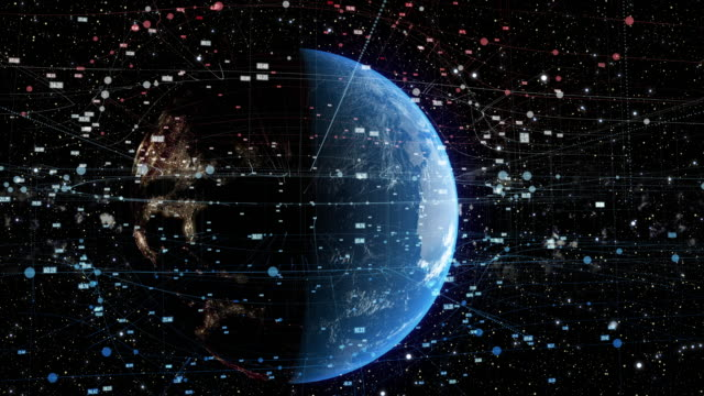 spinning earth with digital data grid - infographic stock videos & royalty-free footage
