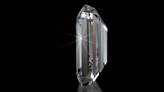 Spinning EMERALD Cut Diamond with Sparkles