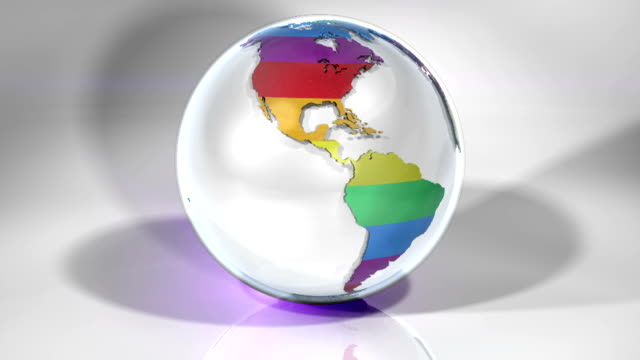 spinning globe using pride rainbow animation - rainbow flag stock videos & royalty-free footage