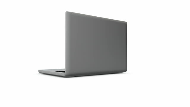 Spinning laptop with blank screen