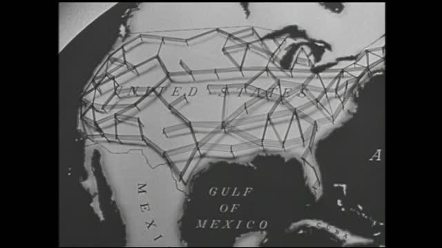 vídeos y material grabado en eventos de stock de spinning light bulb and animation of telephone cables connecting the u.s. - 1940 1949