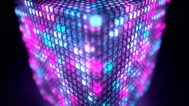 spinning luminous cube - quantum computing stock videos and b-roll footage
