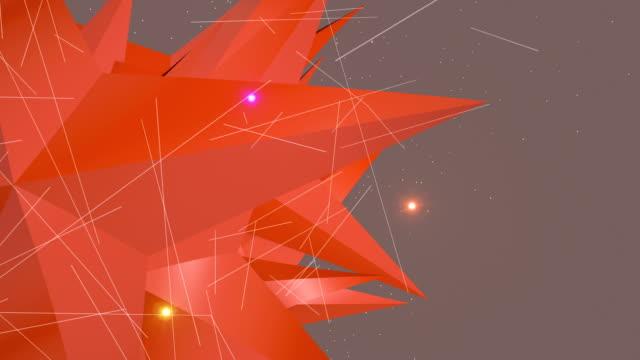 Spinning Orange Sterne-geformte 3D-Objekt und Licht Wege