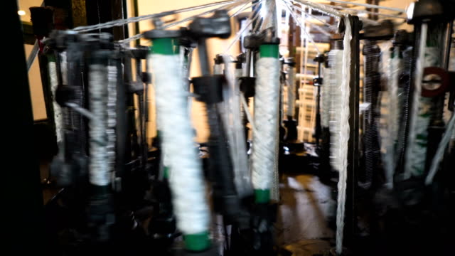 spinning production line factory - thread stock videos & royalty-free footage