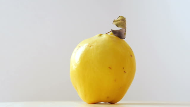 spinning quince fruit on white background - quince stock videos & royalty-free footage