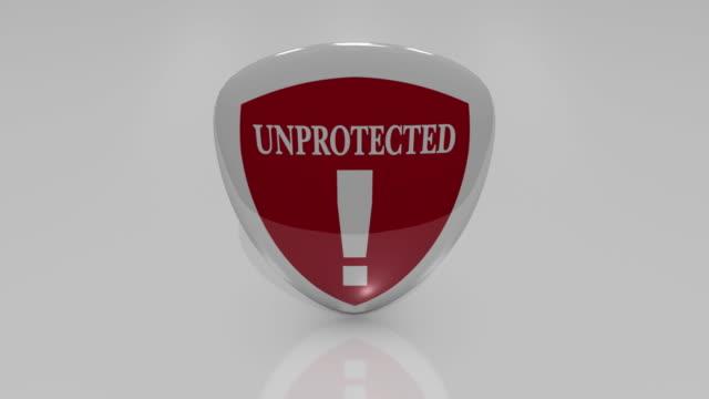 vídeos de stock e filmes b-roll de cu spinning shield with unprotected sign / greece - ponto de exclamação