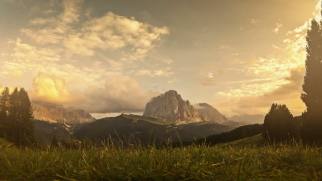 Spinning time lapse video of the Italian Dolomites: Saslong
