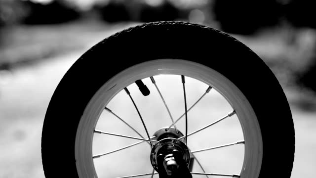 Spinning wheel, bicycle, black and white