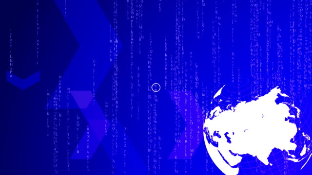HD - Spinning world with matrix stile background , loop