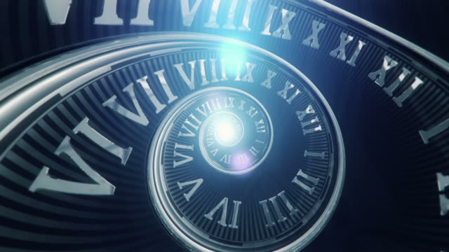spiral clock (dark, without handles) - loop - changing clock stock videos and b-roll footage